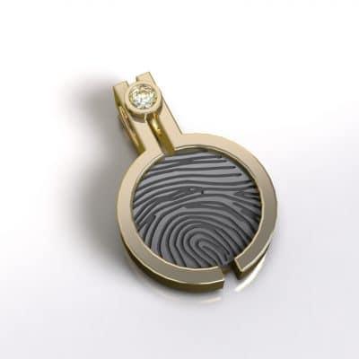 Ashanger vingerafdruk rond zirkonia, geelgoud/zilver