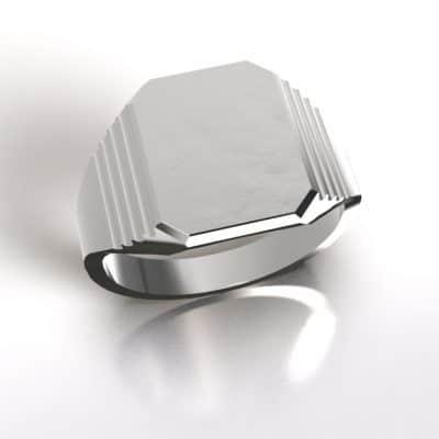 As zegelring 8-kant bewerkt, zilver