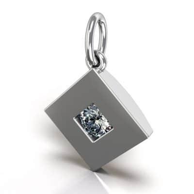 Ashanger vierkant zirkonia, zilver