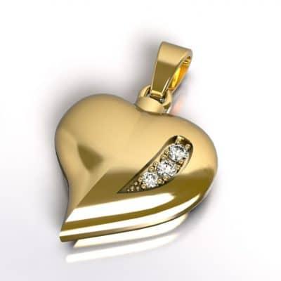 Ashanger hart zirkonia, geelgoud