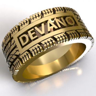 Tekst-/naamring Devano, geelgoud