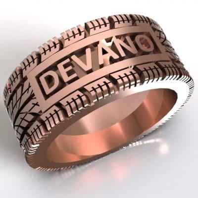 Tekst-/naamring Devano, roségoud