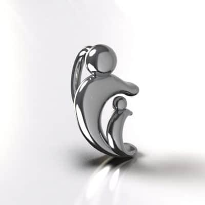 Ashanger moeder & kind 1 kant, zilver