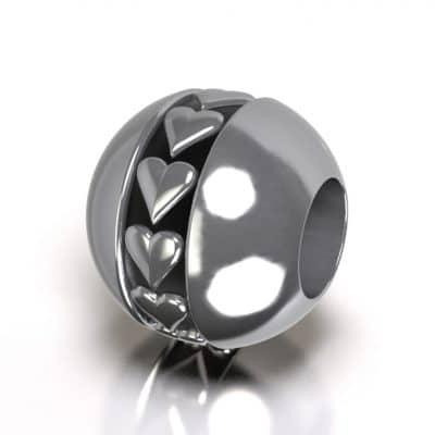 Asbedel Pandora hart, zilver