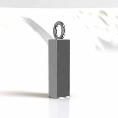 Ashanger buis vierkant vulbaar 18 x 5 mm, zilver