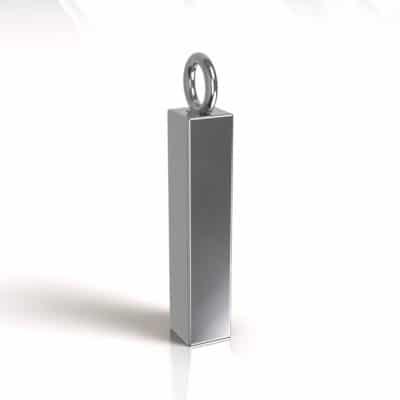 Ashanger buis vierkant vulbaar 24 x 5 mm, zilver