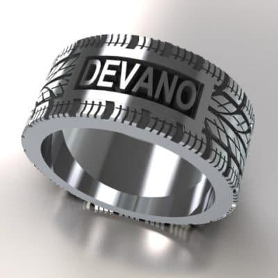 Tekst-/naamring Devano, zilver
