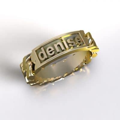 Tekst-/naamring Denise, geelgoud