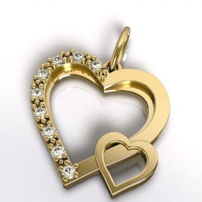 Ashanger dubbel hart, geelgoud