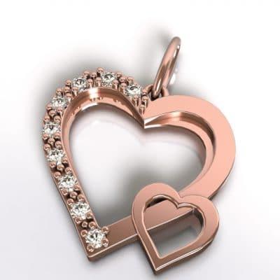 Ashanger dubbel hart, roségoud