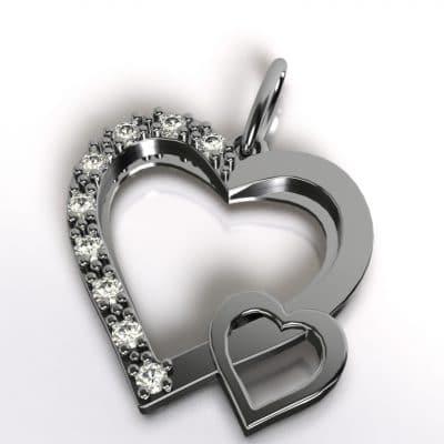 Ashanger dubbel hart, witgoud
