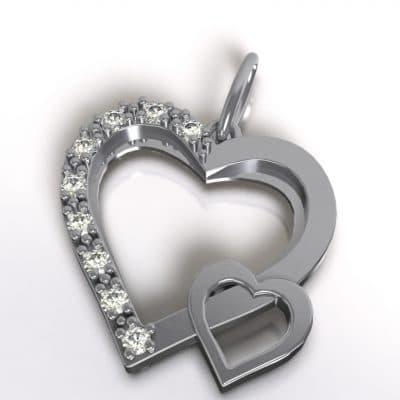 Ashanger dubbel hart, zilver