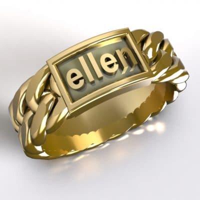 Tekst-/naamring Ellen, geelgoud