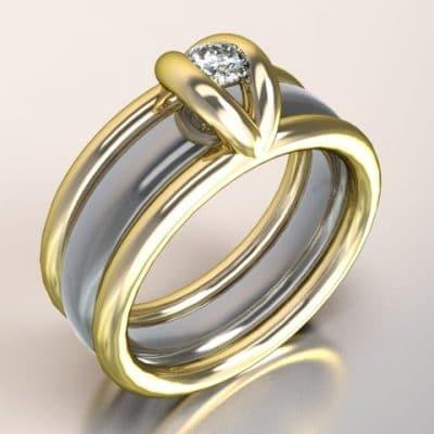 Damesring combi-model geelgoud met zilveren binnenband