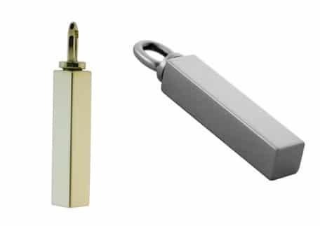 Ashanger buis vierkant 33 x 5 mm, zilver