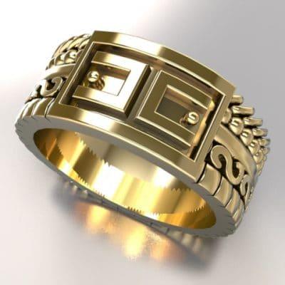 Fantasie ring verschillende banden ANOUK-serie, geelgoud