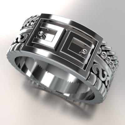 Fantasie ring verschillende banden ANOUK-serie, witgoud
