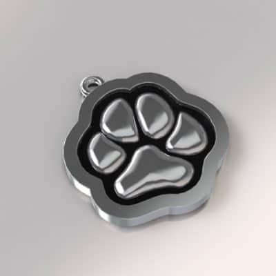 Ashanger hondenpootje, zilver