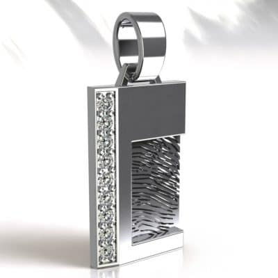 Ashanger vingerafdruk rechthoek met Swarovski zirkonia, zilver