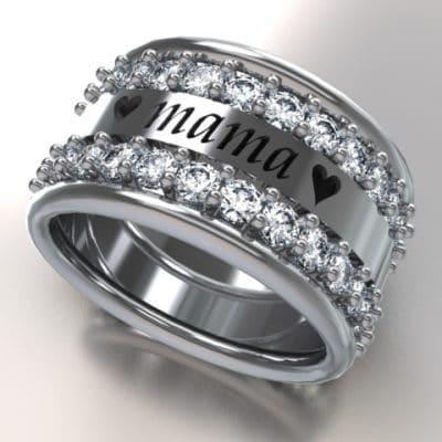 Tekst-/naamring love Mama Swarovski zirkonia, zilver