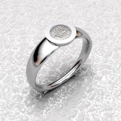 Asring Rond met zichtbaar as, zilver