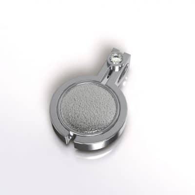 Ashanger zichtbare as rond met zirkonia, zilver