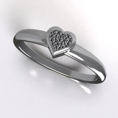 Asring smal hart met zichtbare as, zilver