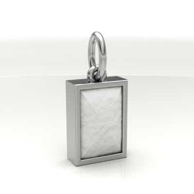 Ashanger rechthoek klein met zichtbare as, zilver