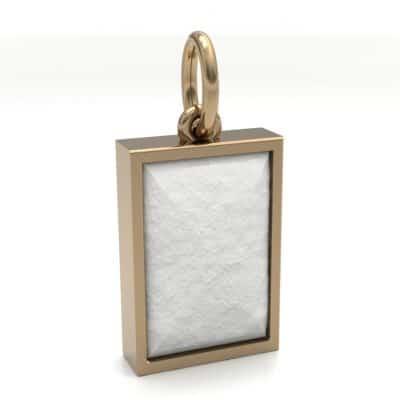 Ashanger rechthoek middel met zichtbare as, geelgoud