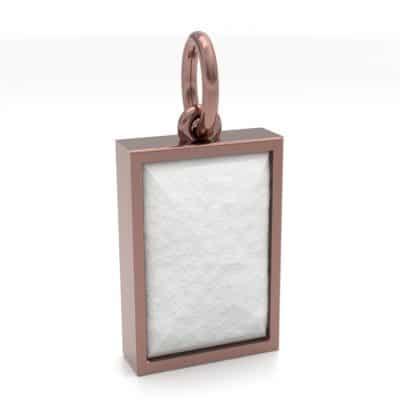 Ashanger rechthoek middel met zichtbare as, roségoud