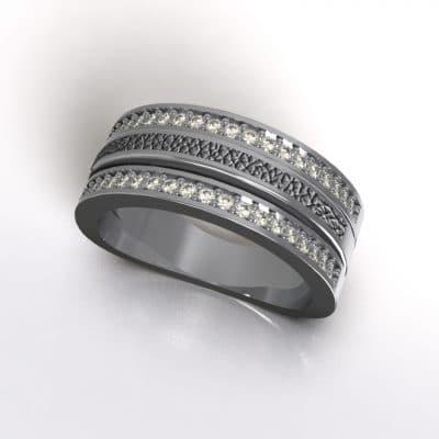 Asring 3 banden met zirkonia en zichtbare as, zilver