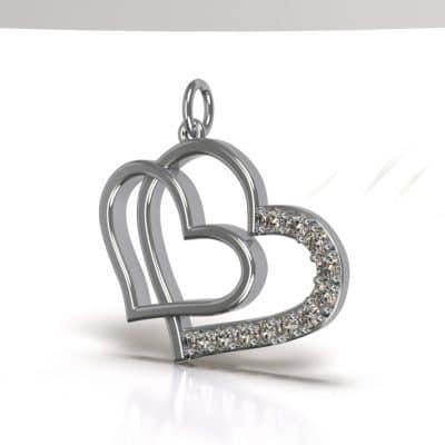 Ashanger Dubbel hart groot, zilver