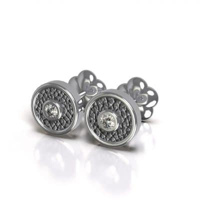 Asoorbellen met zirkonia en zichtbare as, zilver