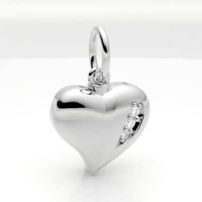 Ashanger hart klein met zirkonia, witgoud