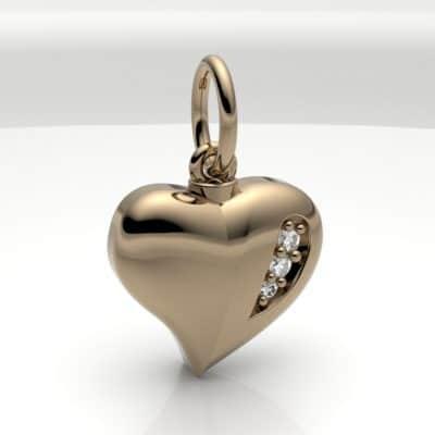 Ashanger hart klein met zirkonia, geelgoud