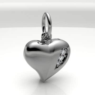 Ashanger hart klein met zirkonia, zilver