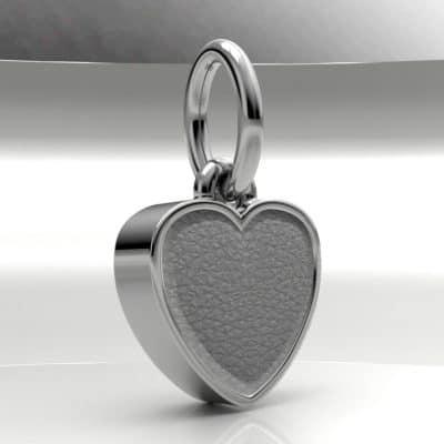 Ashanger hart klein met zichtbare as, zilver