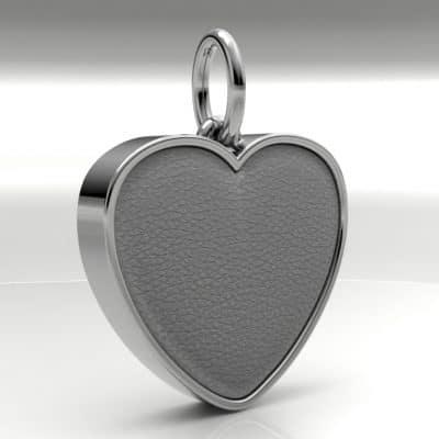 Ashanger hart groot met zichtbare as, zilver